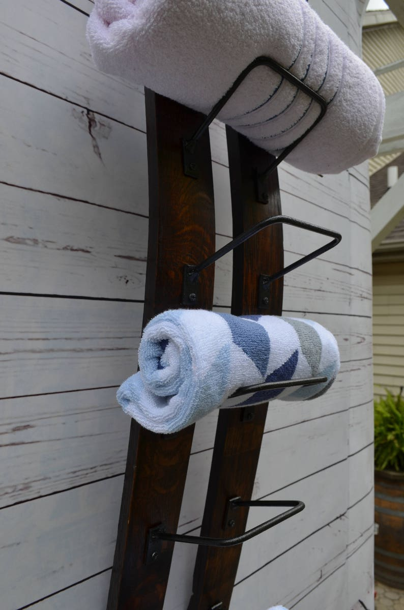 Wine Stave  Towel Rack  made from reclaimed wooden wine image 0