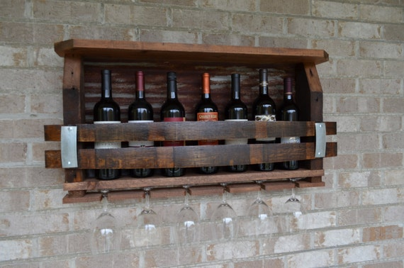 Wine Rack Made From Reclaimed Barnwood Wine Barrels And Etsy