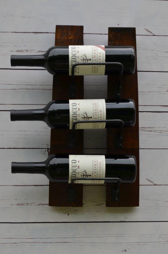 Wine Rack Mini 3 Bottle Wine Rack Made From Reclaimed Wood Etsy