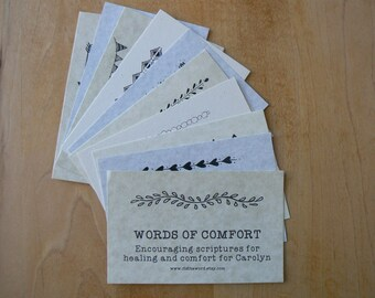 Words of Comfort Personalized Larger Cards Scripture Verse Cards Christian Encouragement Healing Difficult Times