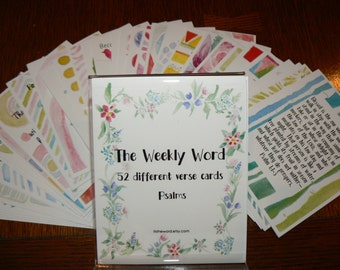 52 Psalms bible verse cards Memory verses scriptures The Weekly Word Encouragement Promises Truths scripture cards watercolor