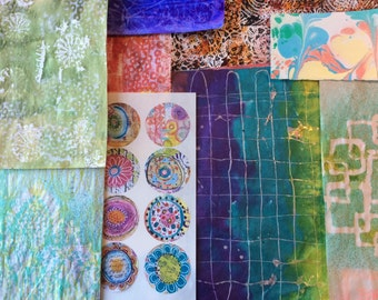 Custom Paper Collage Kit Round Stickers Mixed Media Decorated Papers Hand Painted Papers Gelli prints