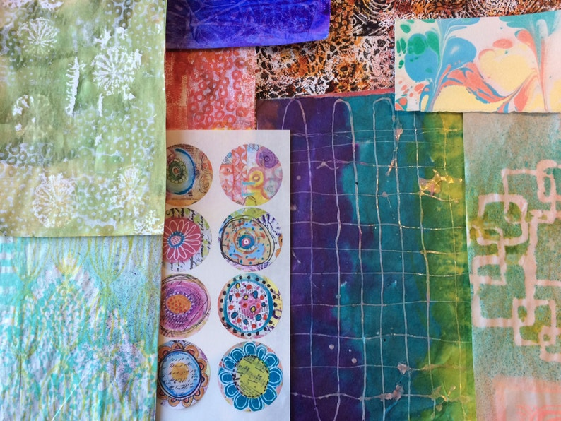 Botanicals Mixed Media Collage Paper Kits Decorated Papers Hand Painted Papers Gelli Prints