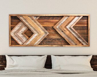 Large Reclaimed wood wall art - Chevron - Behind bed wall art - Barn Wood