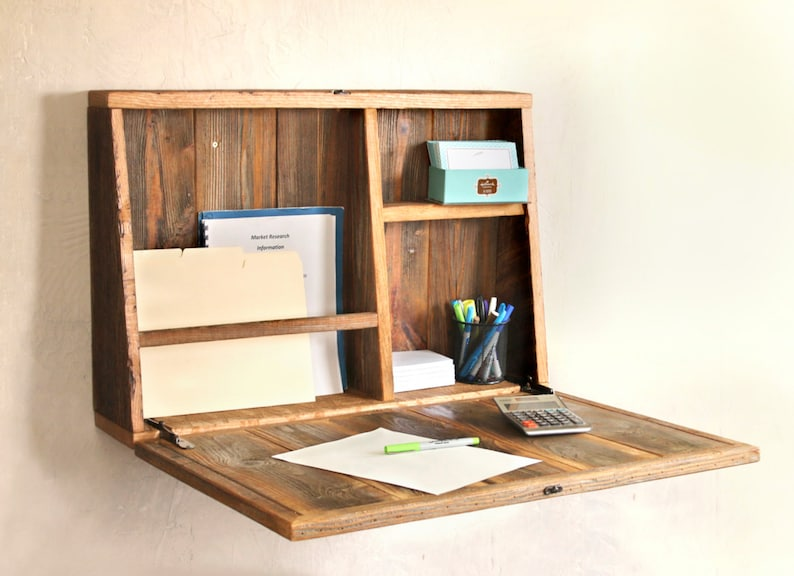 Drop Down Secretary Desk Wall Mounted Desk For Small Etsy