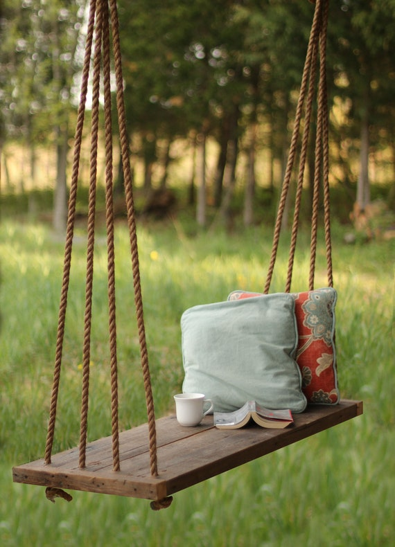 Porch Swing Bench Outdoor Seating Rope Swing Tree Etsy