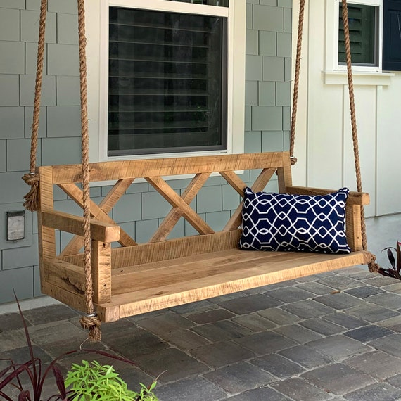 Porch Swing With Farmhouse Details X Back Outdoor Etsy