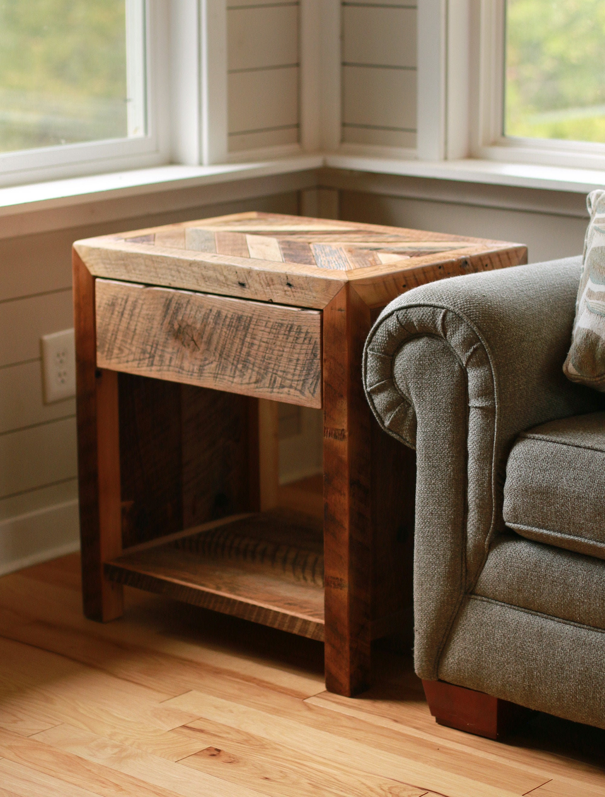 Reclaimed Wood End Table Living Room, Side Tables For Living Room