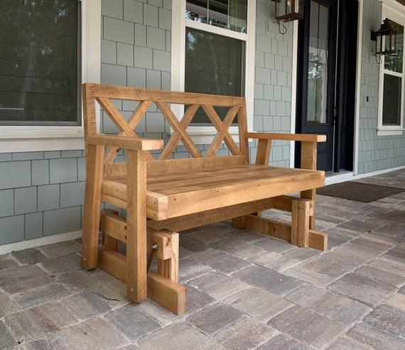 Terrific Porch Glider Bench Made From Reclaimed Wood Rocking Chair Patio Bench Outdoor Bench Creativecarmelina Interior Chair Design Creativecarmelinacom