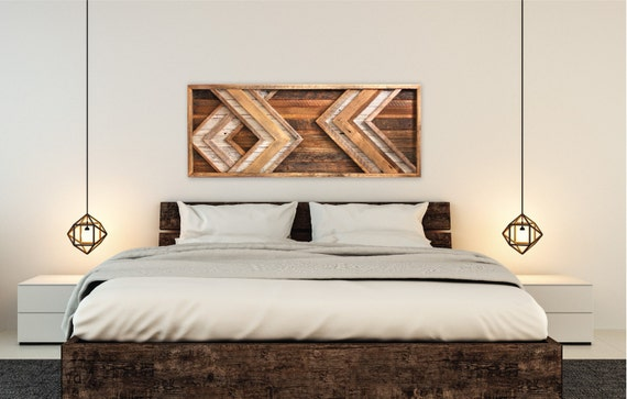 large reclaimed wood wall art chevron behind bed wall art etsy. Black Bedroom Furniture Sets. Home Design Ideas