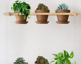 """Hanging planter (s) – Indoor hanging garden – Mini gardening pot holder – Vertical flower – Kitchen herbs – Hangs six 4"""" terracotta pots"""