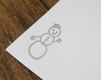 Silver Snowman Flat Notecards Set of 10