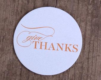 Give Thanks Letterpress Coasters - Set of Ten