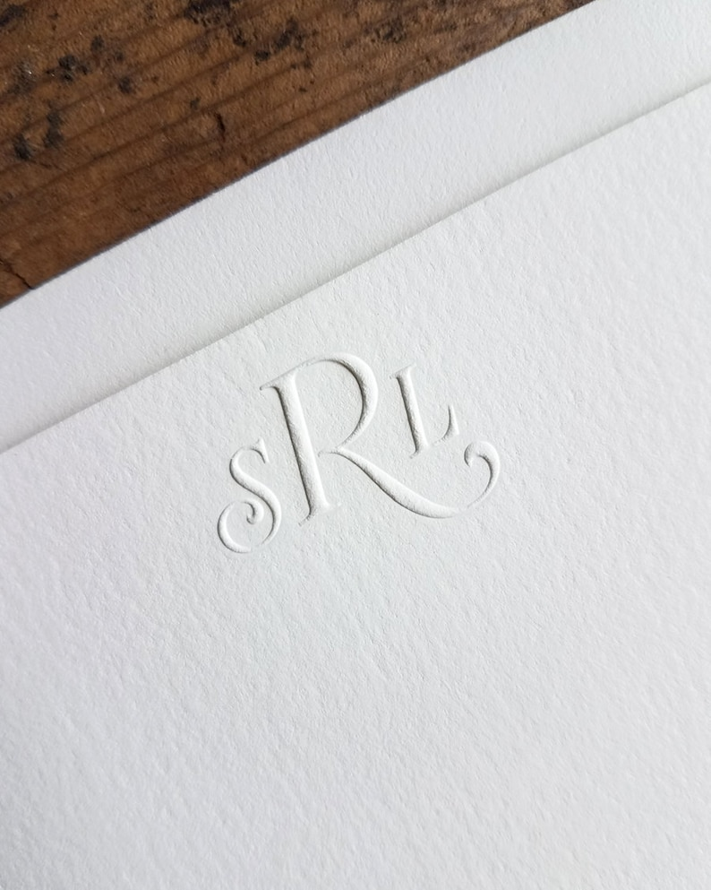 graphic about Embossed Stationery referred to as Embossed Stationery Custom made Monogram Notecards