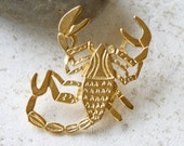 Scorpion Brooch Pin. Zodiac sign broach.