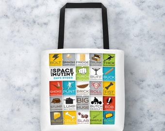 MST3K Space Mutiny 15x15 Tote - Dave Ryder Names - Rifftrax Laptop Brief Diaper Travel Shoulder Bag Gift Mystery Science Theater 3000