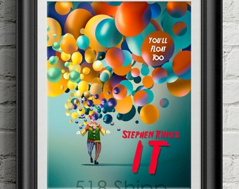 Stephen King's IT  - Pennywise You'll Float Too Horror Movie Film Poster Art Print Wall Decor Movie Quote