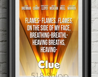 Clue - Flames Movie Film Poster Tim Curry Board Game Art Print Wall Decor Poster Motivational Movie Quote