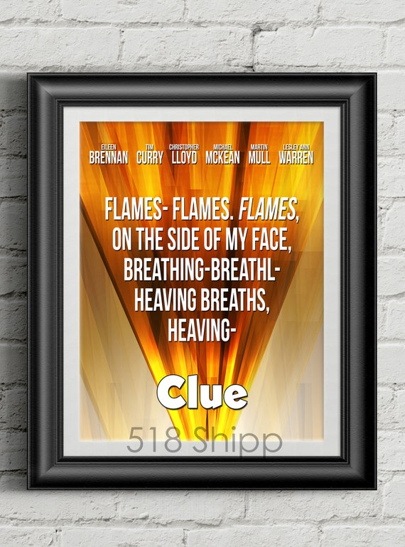 Clue Flames Movie Film Poster Tim Curry Board Game Art Print Etsy