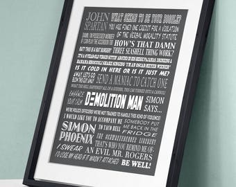Demolition Man - John Spartan Simon Phoenix Sylvester Stallone Wesley Snipes Movie Film Poster Art Print Wall Decor Poster Movie Quote