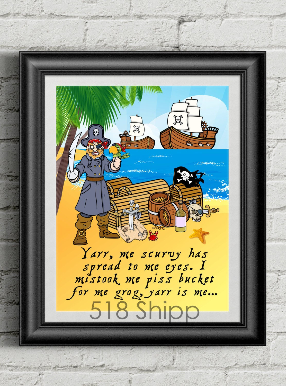 Pirate Yarr Me Scurvy Has Spread To me Eyes Art Print Wall | Etsy