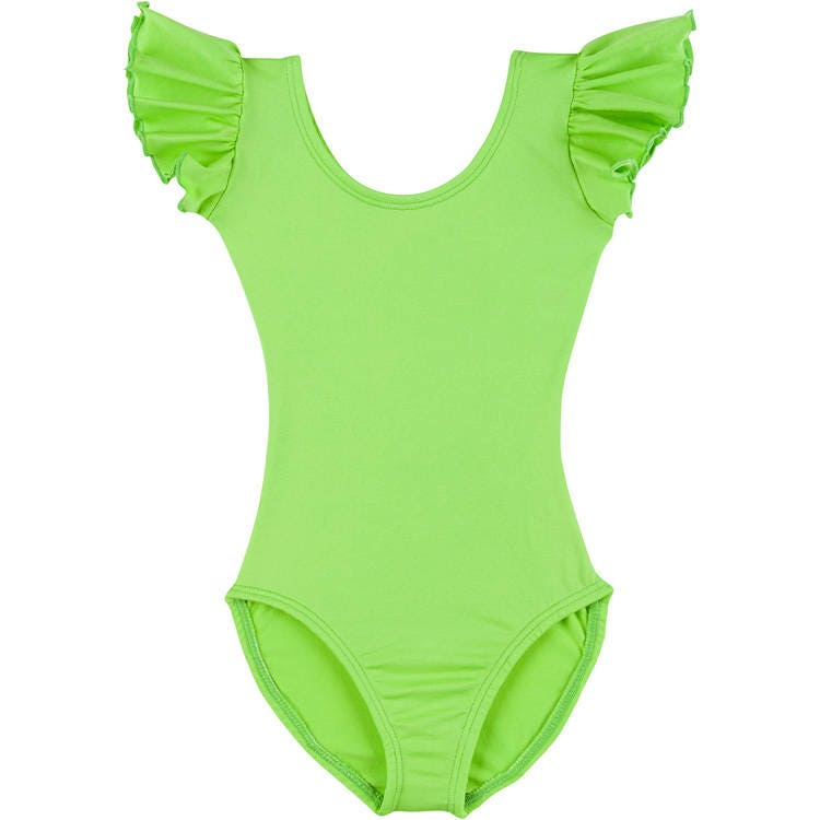 2dc67cdcf433 Lime Green Flutter   Ruffle Short Sleeve Leotard for Child and