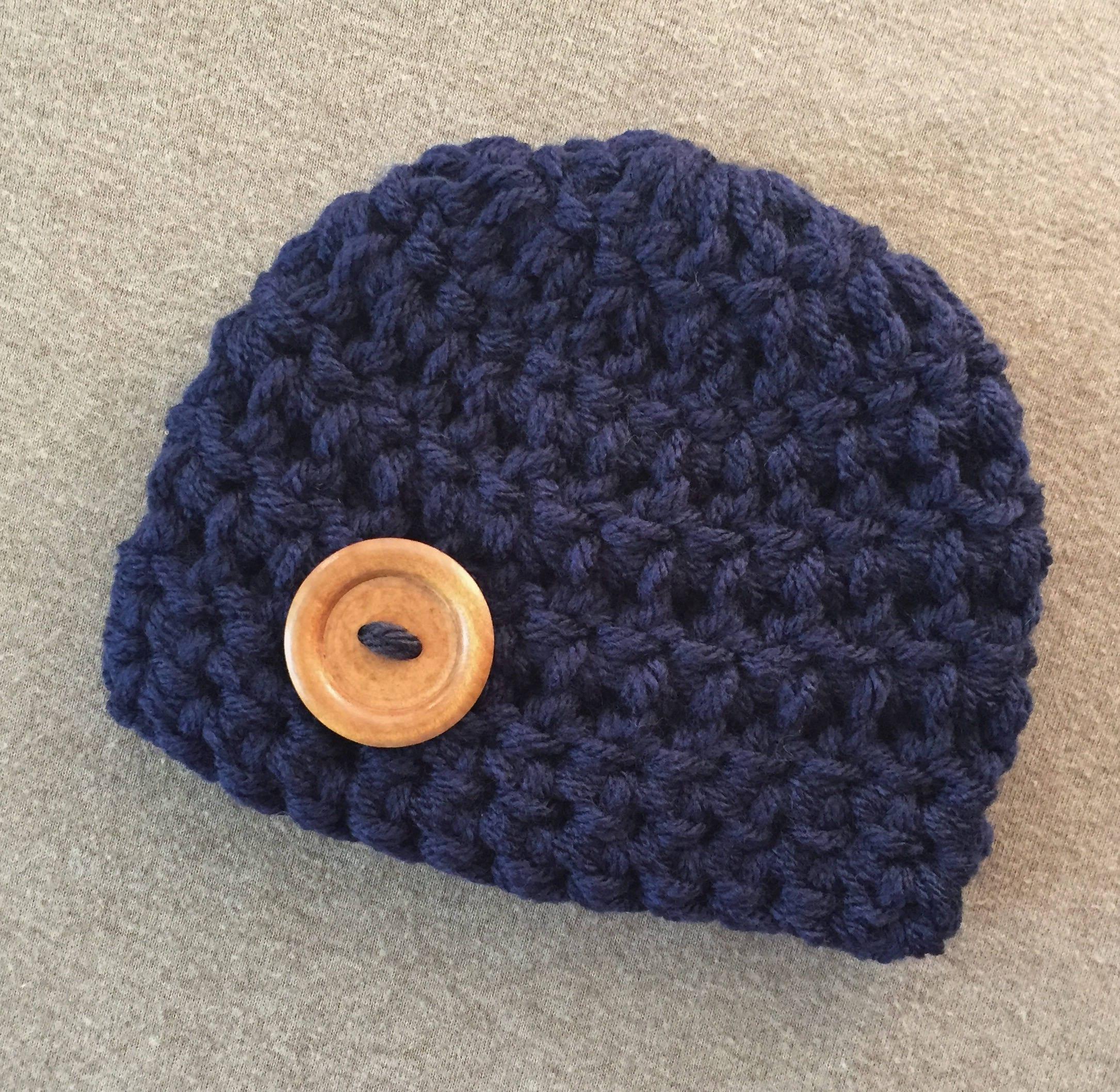 257c29013da Navy blue baby boy hat coming home outfit newborn boy hat knit