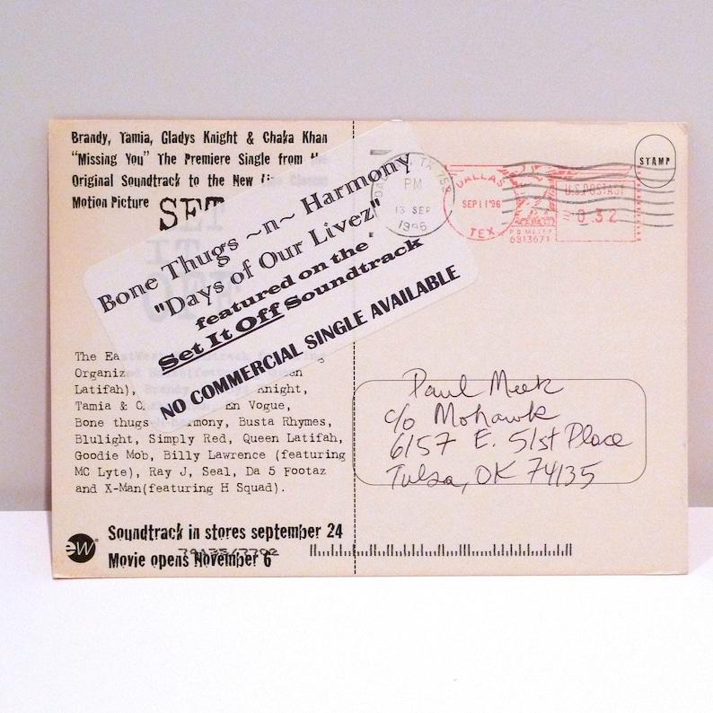 Set It Off Movie Postcard 1996 Vintage Film Soundtrack Card 1990s Band Compilation Jada Pinkett Smith Queen Latifah Hip Hop R/&B Mohawk Music