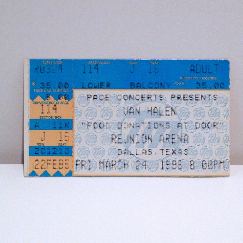 Your choice Vintage Concert Stub Ft Worth Texas  Dallas Starplex  Houston Woodlands Mohawk Music 1986  1993  1995 Van Halen Ticket