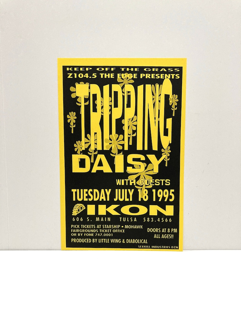 Tripping Daisy Poster Live in Concert Elastic Firecracker Tour Band 1995 Vintage Ikon Dance Club Tulsa Oklahoma Dallas Indie Mohawk Music