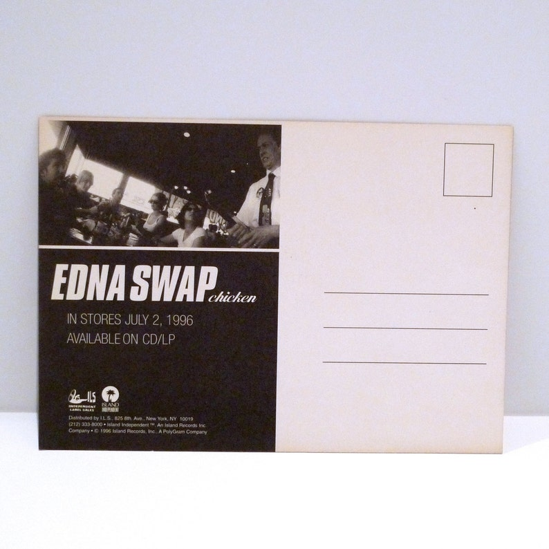 Ednaswap Postcard 1996 Vintage Chicken EP Torn Song Band Card Los Angeles  Alternative Rock 90s Edna Swap Mohawk Music Record Store