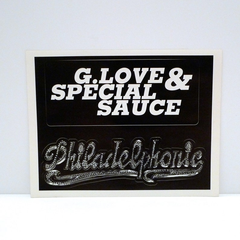 G Love /& Special Sauce Sticker Sheet of 2  Oversized 1999 Vintage Philadelphonic Band Stickers Electric Blues Mohawk Music Record Store