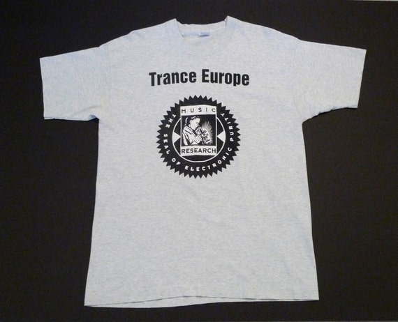 Trance Europe T shirt Music Research Seal of Electronic Purity Size XL  Cotton Band Tee Record Label Vintage 90's Dance Mohawk Music Store