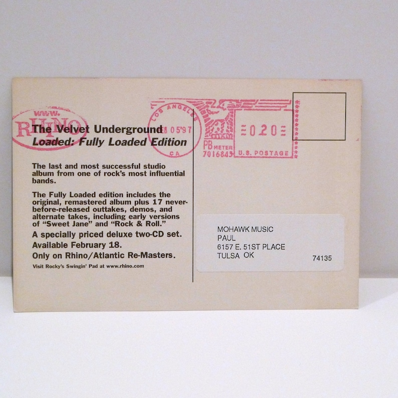 The Velvet Underground Postcard 1997 Vintage Loaded Lou Reed Band Card Fully Loaded Get Loaded Record Label Release Announcement MohawkMusic