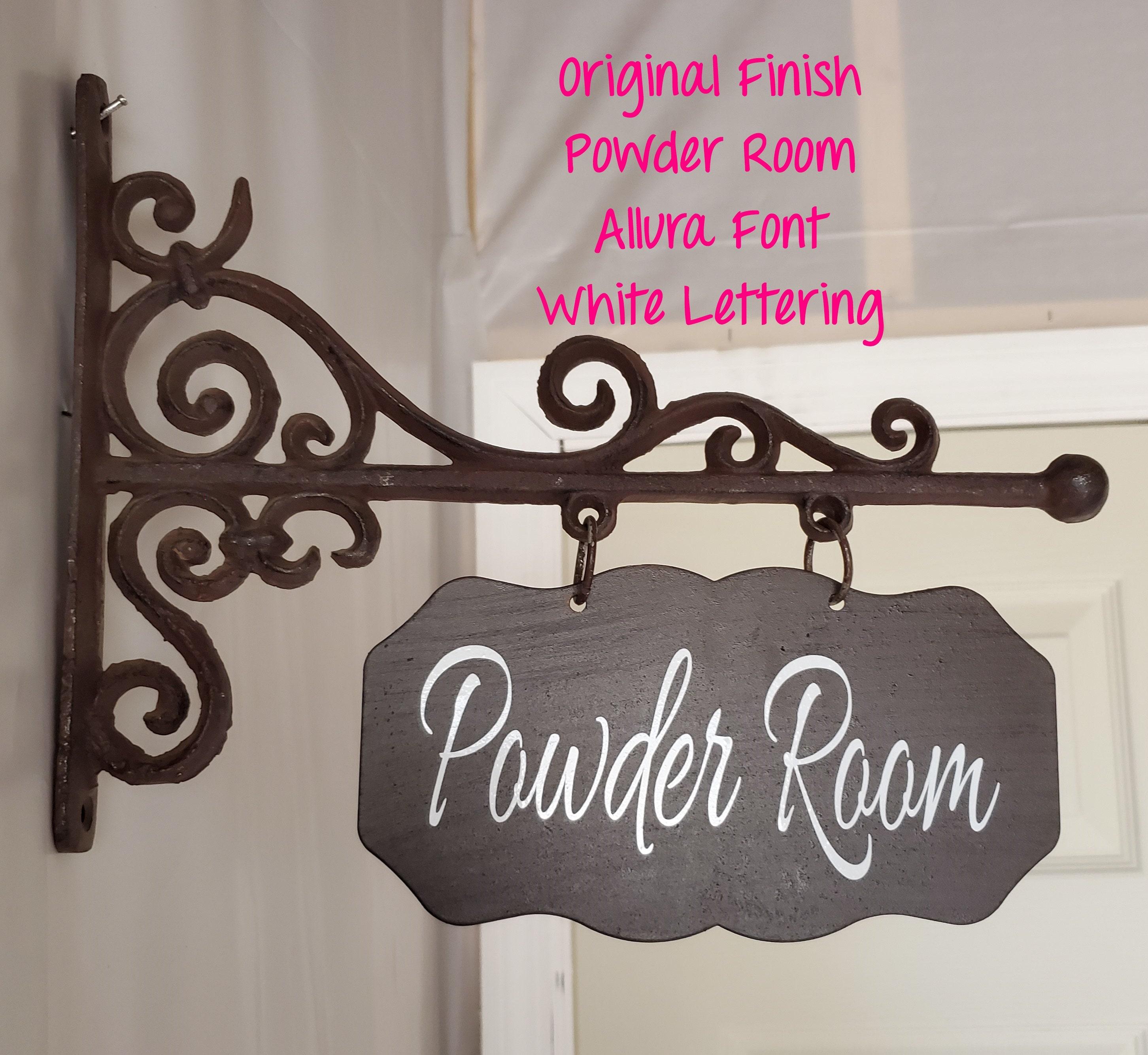 Room Sign//Door Sign//Powder Room//Bathroom//Laundry Room//Pantry//Office Customized Rectangular Metal Plaque and Bracket