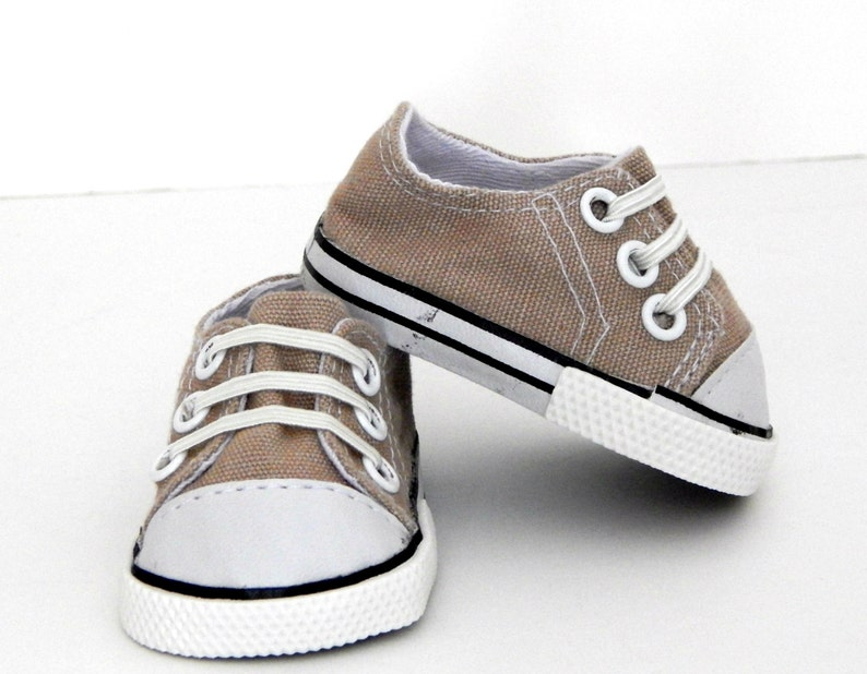 e379a7b0bf048d Tan Doll Sneakers 15 to 18 inch Dolls Doll Shoes Doll