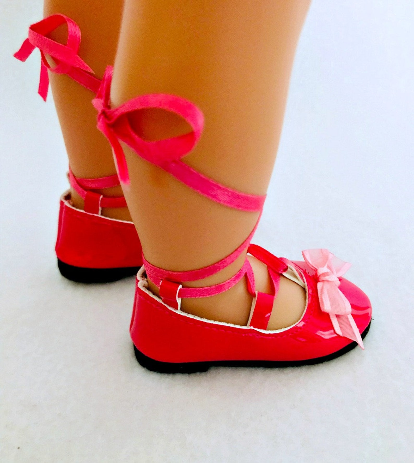 hot pink ballet flats for 18 inch doll - 18 inch doll shoes - ghillies for dolls - doll accessories - doll clothes - gifts for g