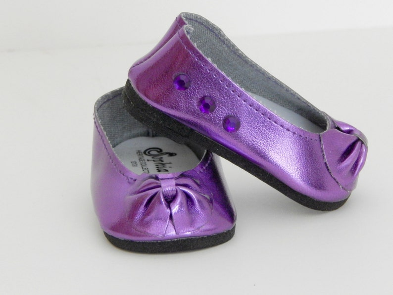 59dc3ebe6e905 Purple Doll Flats - Doll Shoes - 18 inch Doll Shoes - Doll Flats - Metallic  Doll Shoes - Gift for Girls - Party Gift Girls - Girl Toys