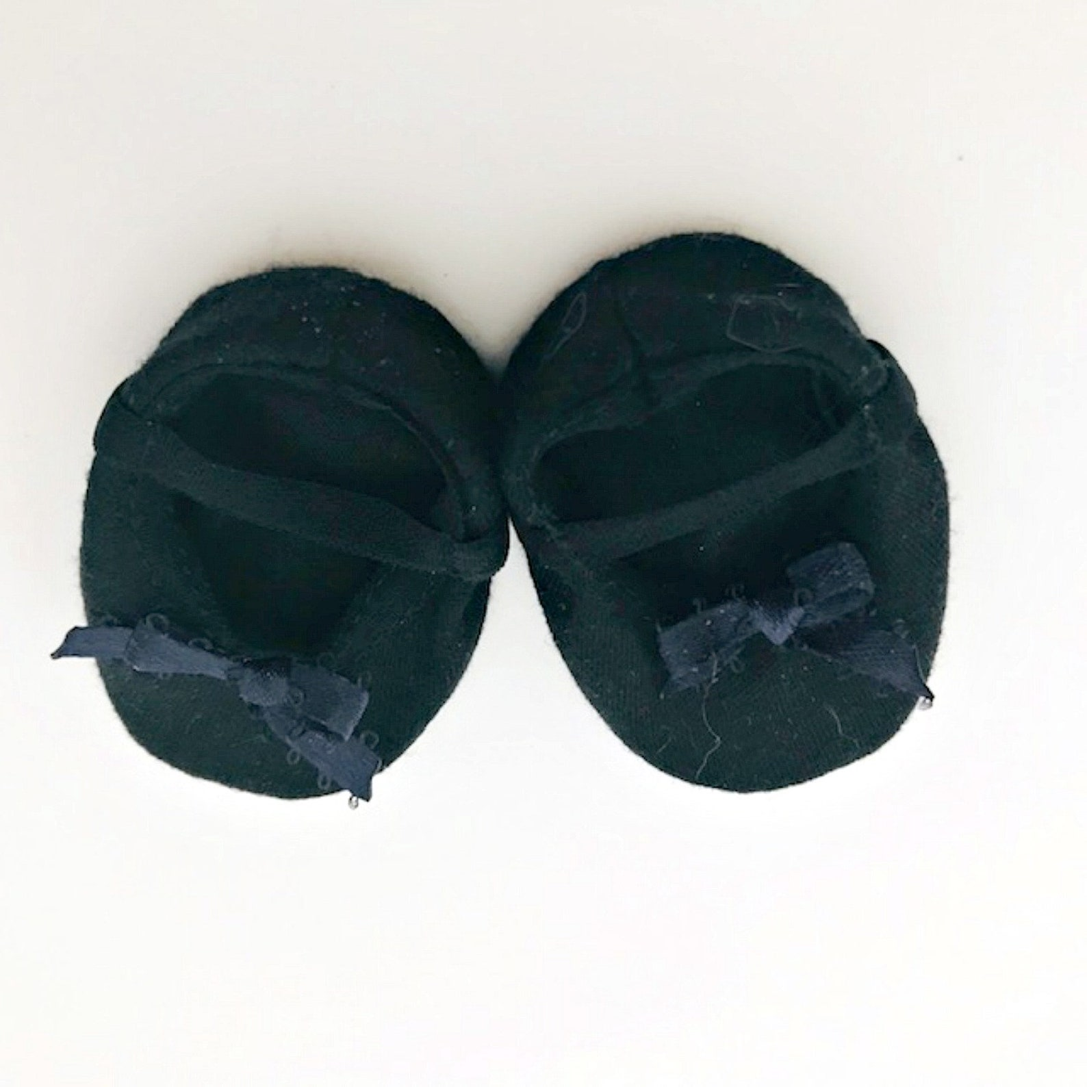 black ballet slippers for 18 inch dolls - 18 inch doll shoes - dance shoes for dolls - doll accessories - doll clothes - gifts f