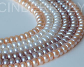 White Button Freshwater Pearls,Rondelle Pearl Beads,7-8 mm,Full strand,Luxe AAA,White Pearls,Peachy Pearls,Mauve Pink Pearls, Jun Birthstone