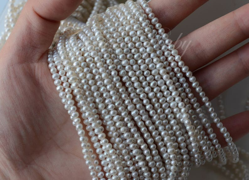 15.5 Potato Round White Freshwater Pearls with Gray Hue 3-4 mm Natural Gray Egg Round Fresh Water Pearls