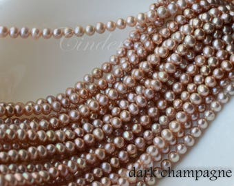 """Champagne Round Freshwater Pearls,Pondslime Potato Round Pearls,Golden Off Round Pearls,Metallic Hue,5-6 mm,15.5"""""""