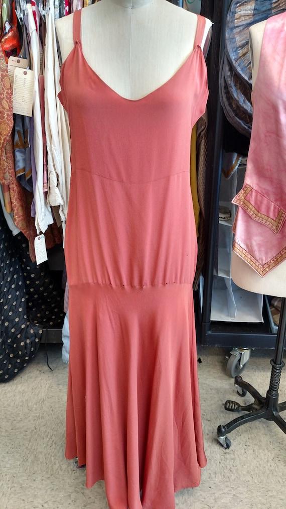 Silky Coral 1920s-30s Slip Dress