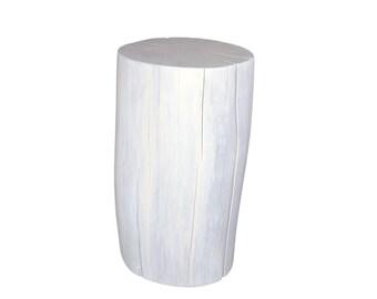 Stump Side Table White Oak Etsy - White stump side table
