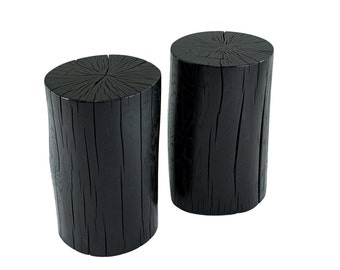 Stump Side Table White Washed Poplar Etsy - White stump side table