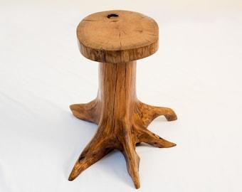 Red oak tree stump end table
