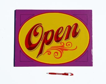 open/closed sign | Hand painted wood