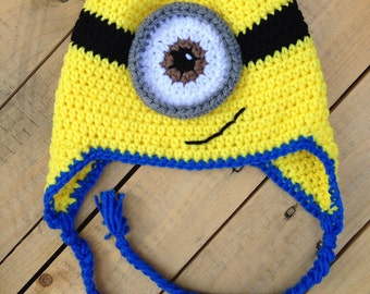 Crochet Minion Inspired Hat Crochet Hat Fun Hat Winter Hat  2fd9cc1129c