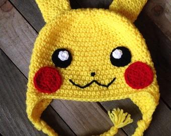 3b4893723d1 Pokemon Inspired- Crochet Pikachu Hat   Pokemon Hat   Winter Hat
