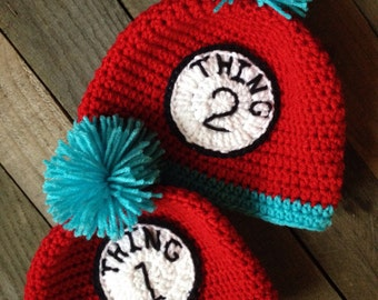 Dr. Suess Inspired 'Thing 1 and Thing 2' Crochet Hats, Winter Hat, Photo Prop